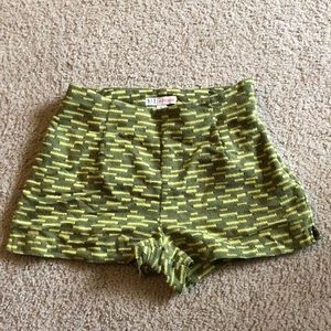 Pants - Green Embroidered Shorts